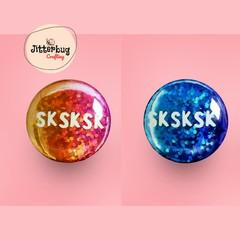 Sk Sk Sk VSCO Girl Rainbow Button Badge, Pin Badge, Metal Pin Button, Colourful