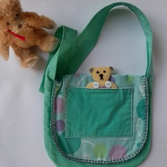 cute handmade teddy bear heart acqua little girls shoulder bag
