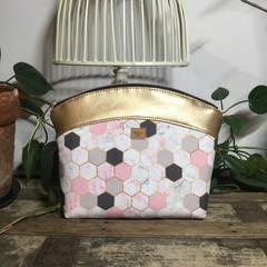 Medium Makeup Purse/Toiletry Bag - Pink/Grey/White Hexagon/Gold Faux Leather