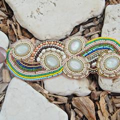 "Beaded Bracelet Cuff ""Galaxies"""