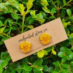 Pixie Pansy Stud Earrings - Sunshine Yellow - Gold