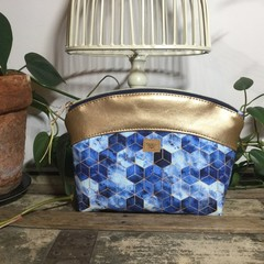 Small Makeup Purse/Toiletry Bag - Blue Geometric/Gold Faux Leather