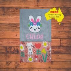 Pink Sleepy Bunny Blanket, Personalized Baby Blanket, Baby Girl Blanket, Pink Bl