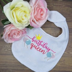 Birthday Queen Custom Embroidered Baby Bib