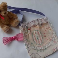 cute handmade pale pink ballerina lacy little girls shoulder bag