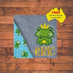Blue Boy Prince Frog Baby Blanket, Personalized Baby Blanket, Baby boy Blanket,