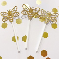 Gold Bee Cupcake Toppers - Baby shower, birthday party. Mummy to be.