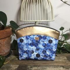 Medium Makeup Purse/Toiletry Bag - Blue Geometric/Gold Faux Leather