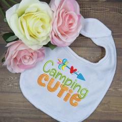 Camping Cutie Custom Embroidered Bib