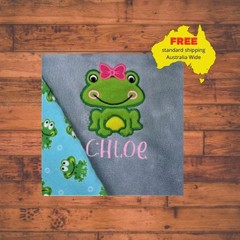 Blue Girl Frog Baby Blanket, Personalized Baby Blanket, Baby Girl Blanket, Blue,