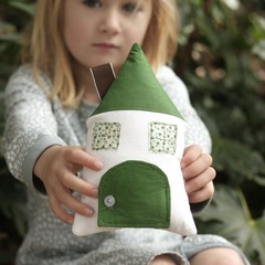 Tooth Fairy Pillow House house in forest green florals