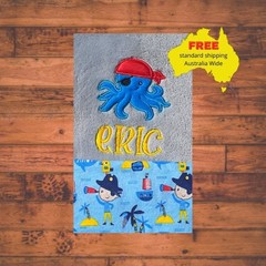 Blue Octopus Pirate Blanket, Personalized Baby Blanket, Baby Boy Blanket, Boy Bl