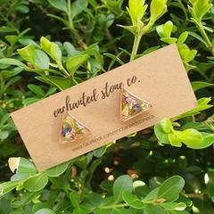 Gold Flofetti Stud Earrings - Pyramid