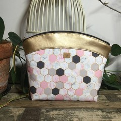Large Makeup Purse/Toiletry Bag - Pink/grey/white Hexagon/Gold Faux Leather