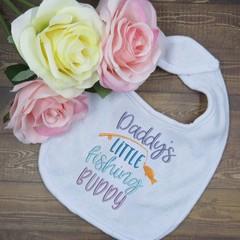 Daddy's Little Fishing Buddy Custom Embroidered Baby Bib