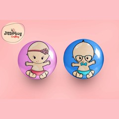 Gender Reveal Boy and Girl Button Badges, Pin Badge, Metal Pin Button, Colourful