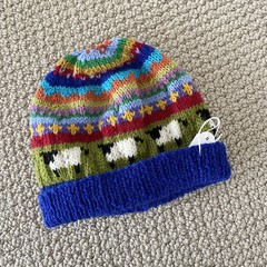 Blue Sheep  Beanie - to fit approx size 1-3 years -hand knitted