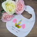 Unicorn Easter Bunny Custom Embroidered Baby Bib