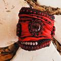 "Vibrant Red Beaded Bracelet Cuff ""Scarlet"""