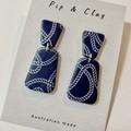 Navy rope clay earrings