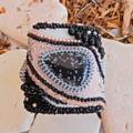 "Hand beaded bracelet cuff ""Riverstones"""