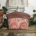Small Makeup Purse/Toiletry Bag - Sandhills at Sunset/Tan Faux Leather