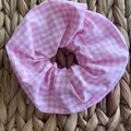 Pink Gingham Cottagecore Aesthetic Hair Scrunchie  Hair Tie Accessory