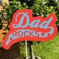 Dad Rocks - Red Cake Topper