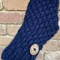 Navy blue knitted handwarmers fingerless gloves mens or ladies