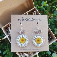 Silver Daisy Resin Earrings