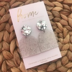 Recycled Silver Glitter Arch Acrylic Dangles | Ecofriendly
