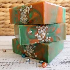 Green Tea & Orange Sea Salt Twist - Handmade Natural Luxurious Spa Soap - Vegan