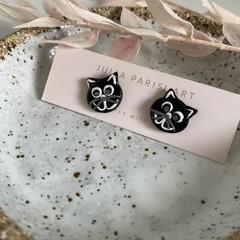 """""""Oscar the Cat"""" Handmade Clay Stud Earrings"""