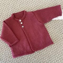 Pink Cardigan  - Newborn -extra fine merino wool - Hand knitted