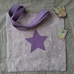 mauve, little girls handmade, star tote library bag