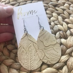 Recycled Faux Leather Embossed Teardrop Dangle Earrings | Mother's Day | Unique