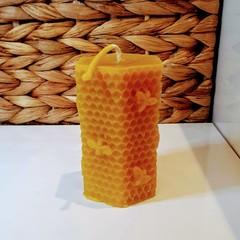 Hexagonal beeswax candle