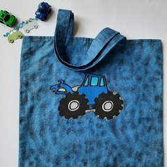 blue tractor truck little boys handmade,  tote library bag