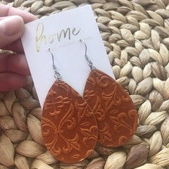 Recycled Tan Leather Embossed Teardrop Dangle Earrings | Mother's Day | Unique