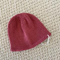 Pink Newborn Baby Hat - Hand knitted