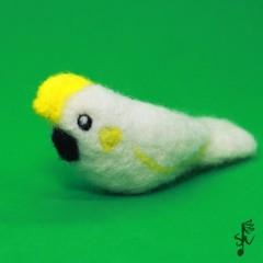 Sulphur-crested Cockatoo - Handmade Needle Felted Wool Bird