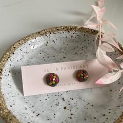 """""""Smarties Chocolate Cookie"""" Handmade Stud Earrings"""
