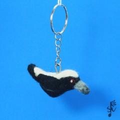 Australian Magpie Keyring - Handmade Wool Felt Bird