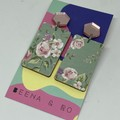 Floral rectangle earrings 3
