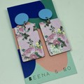 Floral rectangle earrings 2