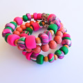 Pink & Green Wood and Clay Bracelet