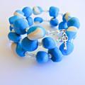 Blue & White Polymer Clay Wrap Bracelet
