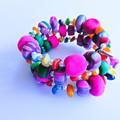 Pink & Green Polymer Clay Wrap Bracelet