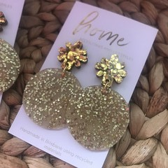 Recycled Gold Glitter Yellow Star Christmas Dangles | Environmentally friendly