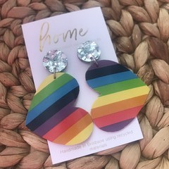Recycled Rainbow Heart Silver Dangles | Eco | Upcycled